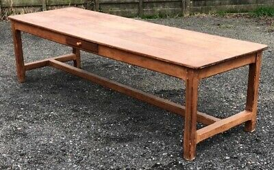Extra Long French Framhouse Rustic Dining Table, Pitch Pine, Circa 1850