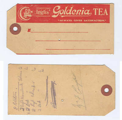 Original c.1930's Inglis GOLDENIA TEA Promo Shipping Tag