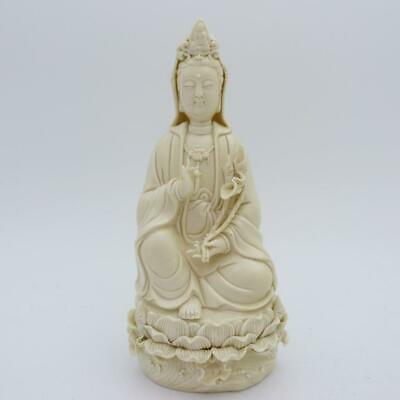 Antique Chinese Blanc De Chine Porcelain Figure Guanyin In Vitarka Mudra, Signed