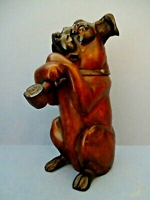 """LATE 19th C CARVED GERMAN  """"BLACK FOREST"""" BOXER DOG TOBACCO JAR HUMIDOR c 1890."""