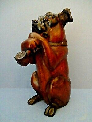 "LATE 19thC CARVED GERMAN  ""BLACK FOREST"" BOXER DOG TOBACCO JAR HUMIDOR c 1890."