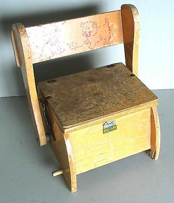 """Vintage Thayer """"Tops for Tots"""" Folding Wood Potty Chair Childs FREE SH"""