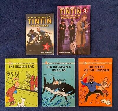 Lot of 5 Children's Books by Herge: The Adventures of TinTin - Paperbacks