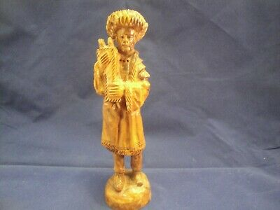 Hand Carved Wood Figure of Man Holding Scrools