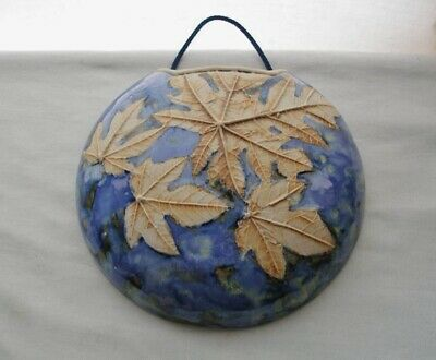 Incredible ARTS CRAFTS style SIGNED Art POTTERY HANGING VASE Lush RAISED LEAVES