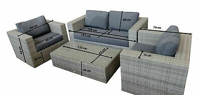 Rattan Garden Furniture Outdoor Patio Set Sofa arm chairs coffee table in grey
