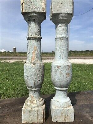 Pair Antique French Wood Baluster Spindles, Porch Post Pillar Candle Holders a