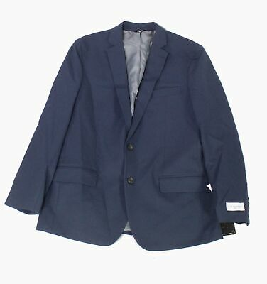 After Six Mens Blazer Navy Blue Size 44 Stretch Slim Fit Two Button $114 #089