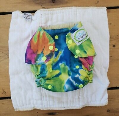 Tie Dye Cloth Diaper Cover plus GMD organic prefold cloth-eez EUC