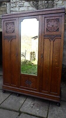 Edwardian Oak Triple Wardrobe