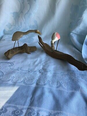 Hand Carved Wooden Birds On Drift Wood Nautical Bird Carvings