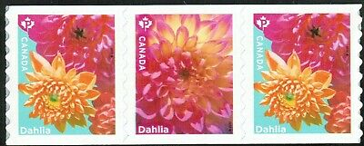 Canada sc#??? Dahlia, Strip of 3 from Coil, Mint-NH