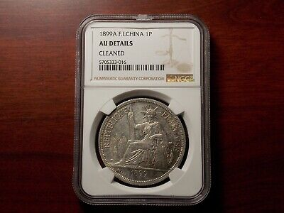 1899 A French Indo-China Piastre silver coin NGC AU