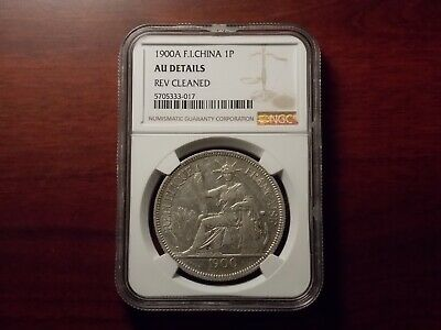 1900 A French Indo-China Piastre silver coin NGC AU