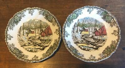 "2 FRIENDLY VILLAGE The ICE HOUSE round  5.75"" SAUCERS by JOHNSON BROS England"