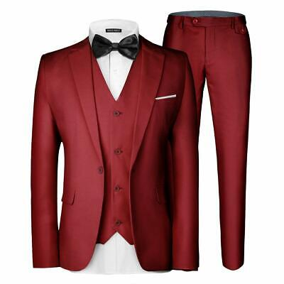 MAGE MALE Mens Suit Set Red Size 4XL Single Button Notched 3 Piece $78- #254