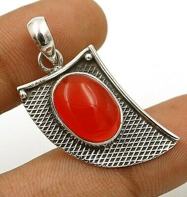 Natural Carnelian 925 Solid Sterling Silver Pendant Jewelry EA16-3