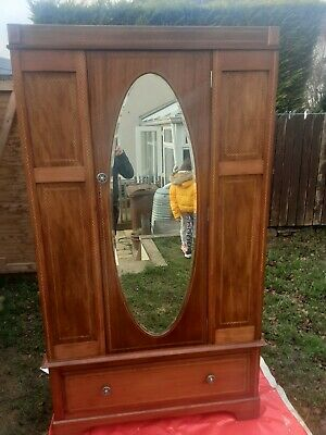 Antique wardrobe with mirror & drawer