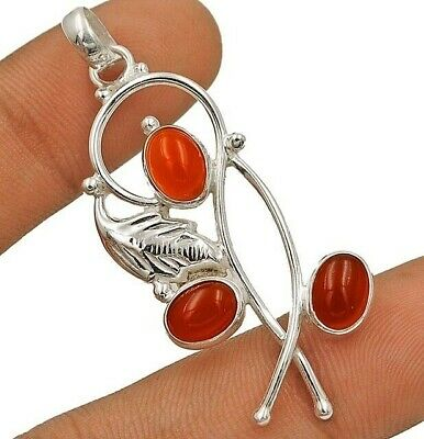 Leaf Orange Carnelian 925 Solid Genuine Sterling Silver Pendant Jewelry EA16-7