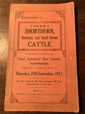 1917 Catalogue Pure Shorthorn Hereford and South Devon Cattle Flemington Melb