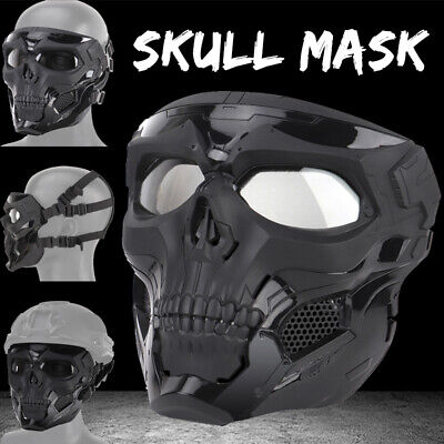 Skull Tactical Airsoft Mask Paintball Military CS Full Face Helmet w/Goggles