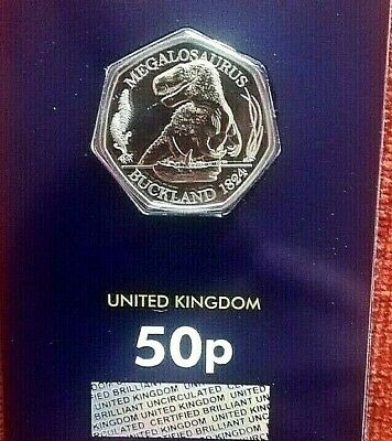 2020 Megalosaurus Dinosaur 50p Fifty Pence Coin BUNC Brilliant Uncirculated