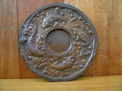 Original Art & Crafts Hammered Copper Dish. Fishes & Seaweed, 33.5 Cm. Dia'