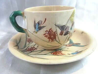 Ancienne Tasse Soucoupe Cafe The Ceramique Emaille Insectes Sarreguemines Cup