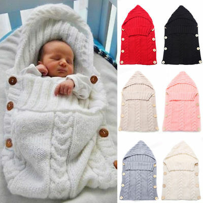 Toddler Baby Hooded Swaddle Wrap Warm Blanket Cute Hoodie Knitted Sleeping Bag