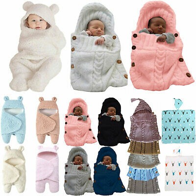 Newborn Baby Swaddle Sleeping Bag Infant Knitted Crochet Soft Warm Blanket Wrap