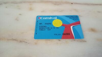 Carnival Cruise Charge Card - Ship Fascination 2008 EXPIRED