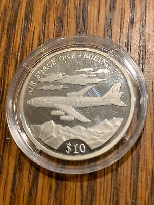 .999 Silver Air Force One Boeing 707 American Mint 2000 $10 Silver Coin