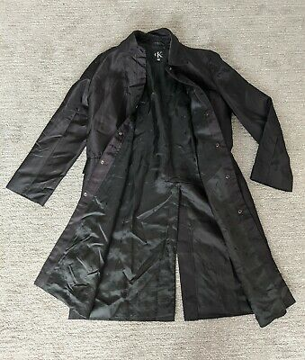 Calvin Klein Womens Black Trench Coat Size 8 Made in Italy Button Up Collared