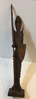 Tall Carved Walnut Wood Don Quixote And A Long Spear Sculpture