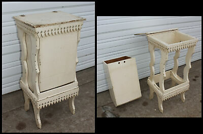 Victorian Hand Carved Apron Hinged Lid Sugar Chest w Stand Unusual Removable Bin