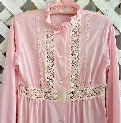 Vtg Prim Pink Nylon & Ivory Lace High Neck, Tie-Back, Button Down Granny Gown S
