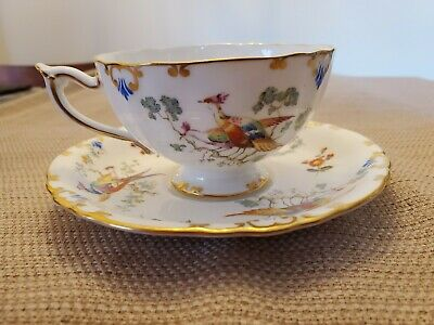 Royal Crown Derby cup and saucer bird scene