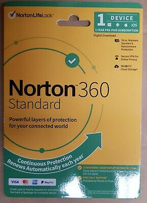 Norton 360 Standard 1 Device 1 Year Protection Win Ios Mac Android