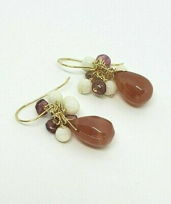14k Yellow Gold Pink Tourmaline, Rhodochrosite and Coral Cluster Dangle Earrings
