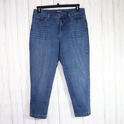Bandolino Blue Lisbeth Crop Jeans Size 14 Womens Tapered Ankle Snaps High Rise