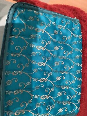 Indian Brocade Quilted Fabric Jewellery Box Women's Turquoise Jewellery Bag New