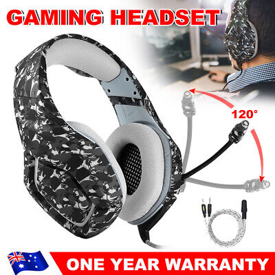 ONIKUMA K1 Stereo Bass Mic Gaming Headset for PC Laptop PS4 Xbox One Grey Camo