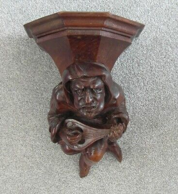 Victorian Antique Gothis Style Carved Wood Black Forest Gargoyle Shelf Bracket