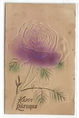 ANTIQUE Post Card Happy Returns Purple Flower 1911