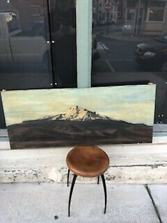 Old Dirty Antique Mt. Shasta Ca Oil On Canvas Painting Artist Signed E. Winner