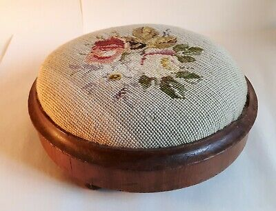 Antique Tapestry on Oak Small Round Footstool. English Country House-Style. Home