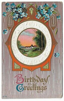 ANTIQUE Post Card Birthday Greetings Cottage Scene Blue Flowers