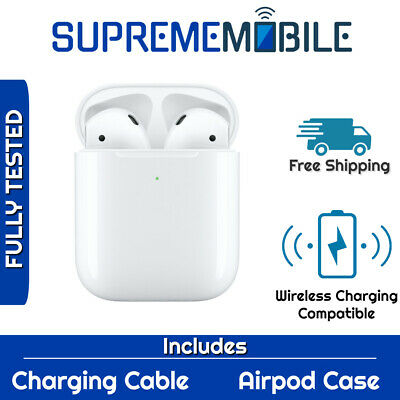 Apple Airpods Genuine Bluetooth w/ White Wireless Charging Carrying Case