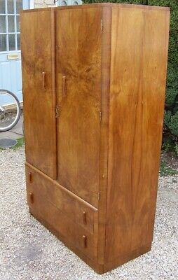 1930s art deco walnut armoire compactum wardrobe compact size w/ drawers