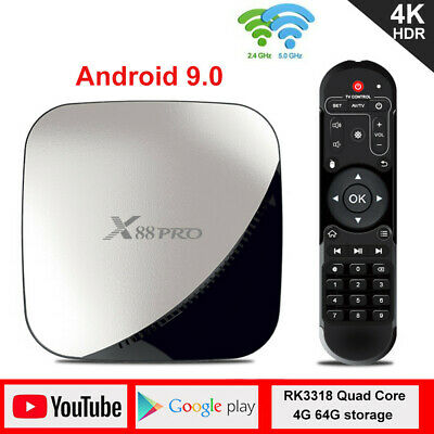 X88 pro RK3318 Quad Core TV Box 4+64G Dual Wifi 4K 3D HD Android9.0 Smart Player